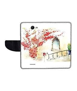 KolorEdge Printed Flip Cover For HTC Desire 516 Multicolor - (50KeMLogo11936HTC516)