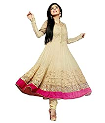 Varibha Women's Branded Indian Style Georgette Gold Salwar Suit Dress Material ( Best Gift For Mom, Wife, Sister )