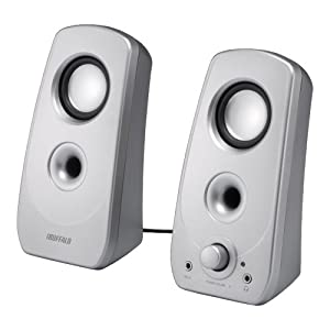 iBUFFALO 2.0ch マルチメディアスピーカー USB電源/ステレオミニプラグ音源 シルバー BSSP28USV