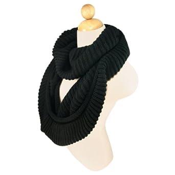 Premium Winter Knit Warm Infinity Scarf, Black