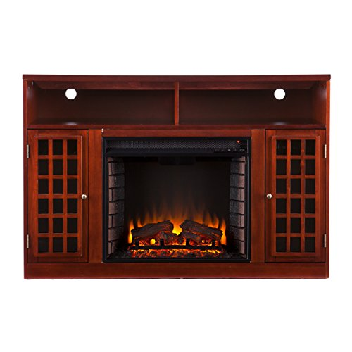 Sei Narita Media Console With Electric Fireplace, Mahogany