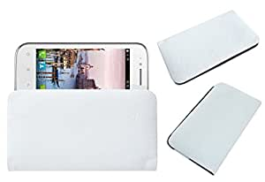 Acm Rich Leather Soft Case For Fly F410 Mobile Handpouch Cover Carry White