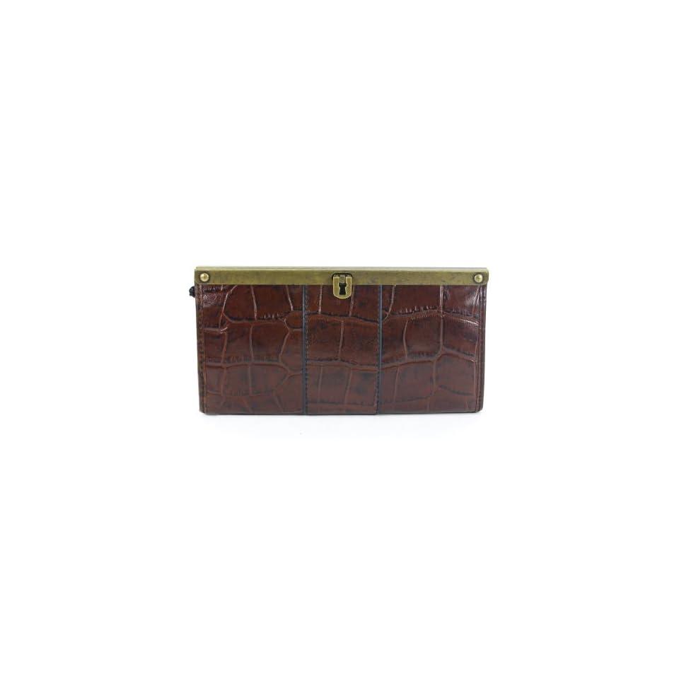 Fossil Vintage Revival Frame Clutch Croc Medium Brown Wallet
