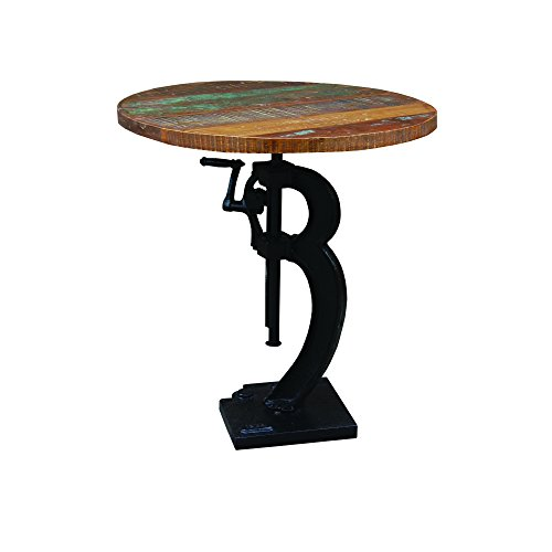 Yosemite Home Decor Yfur-Vaif133 Industrial Adjustable Table, Hand Painted Mango Table Top Finish front-379646