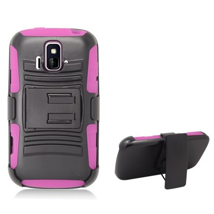 Cell Accessories For Less (Tm) For Zte Sonata/Radiant Z740 Hot Pink Armor, W/ Black Belt Clip & Black Stand + Bundle (Stylus & Micro Cleaning Cloth) - By Thetargetbuys