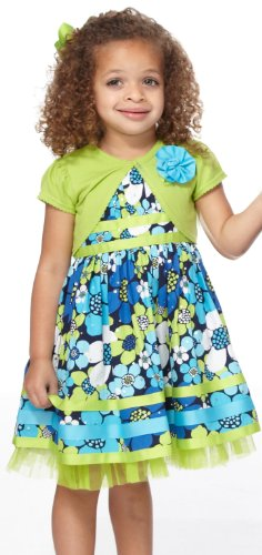 Youngland Girls 2-6X Two Piece All Over Print Holofoil Woven Dress Set, Green/Blue, 5