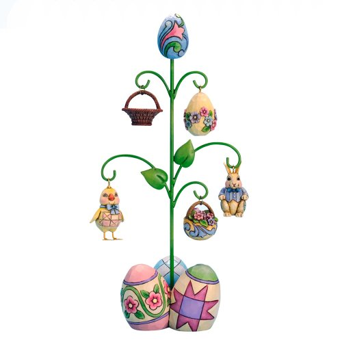 Enesco Jim Shore Heartwood Creek Easter Tree with 5 Ornaments Figurine, 12.5-Inch