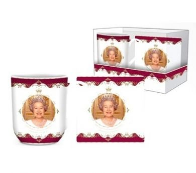 HM Queen Elizabeth II Diamond Jubilee (60th) Commemorative Mug & Coaster Set In Beautiful Gift Box - Memorabilia 2012