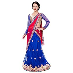 Suchi Fashion Blue Net And Satin Embroidered Circular Lehenga Choli