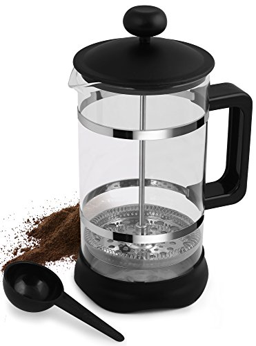 French-Coffee-Press-3-Piece-Black-34-oz-Espresso-and-Tea-Maker-with-Triple-Filters-Stainless-Steel-Plunger-and-Heat-Resistant-Glass-By-Utopia-Kitchen