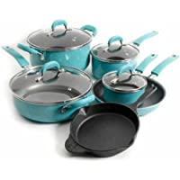 10-Piece Pioneer Woman Vintage Speckle Non-Stick Cookware Set (Turquoise)