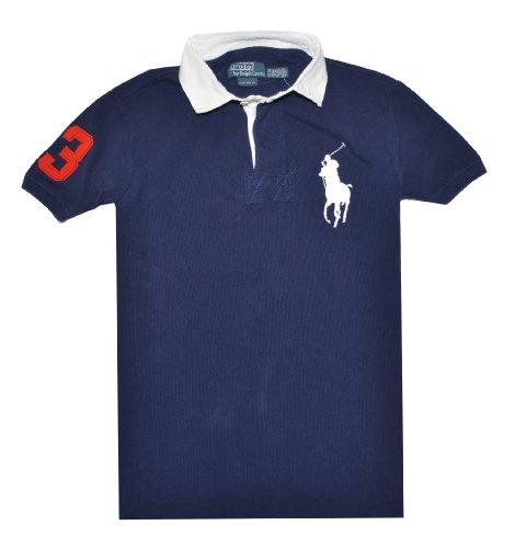 Polo Ralph Lauren Men Custom Fit Big Pony Logo T-Shirt (L, Navy/White)
