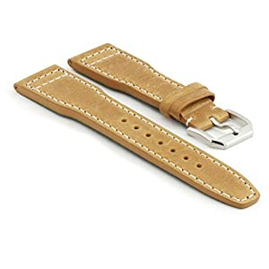 StrapsCo 22mm Premium Beige Leather Watch Band For IWC Big Pilot