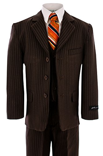 Johnnie Lene Pinstripe Brown Suit for Boys From Baby to Teen