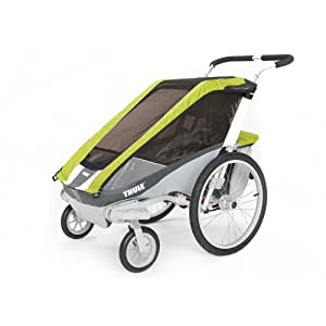 Chariot Cougar 1 Chassis Bundled with Strolling Kit. Up To 1 Child - Avocado