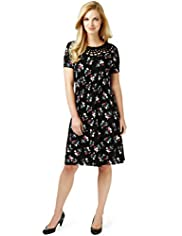 Lattice Neck Floral Print Ruched Dress