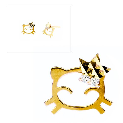 10KT Gold Cat With Star and CZ Earrings