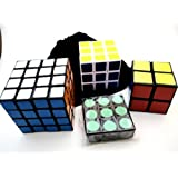 Speedcubing Gift Pack: LanLan 1x3x3 2x2 3x3 4x4 Puzzle Cube with bag