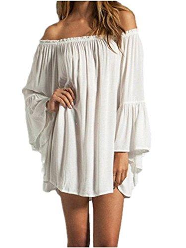 ZANZEA Women's Sexy Off Shoulder Chiffon Boho Ruffle Sleeve Blouse Mini Dress White L