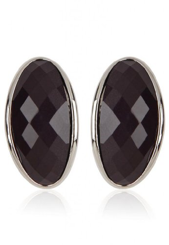 Trendy Baubles Black Stone Semi Hoop For Women (multicolor)