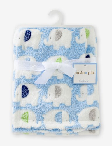 "Cutie Pie Boys' Elephants Baby Blanket 30"" x 36"" - 1"