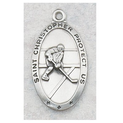Sterling Silver St. Christopher Medal Sports Hockey with 24