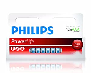 Philips PowerLife Alkaline AAA Batteries 12PK