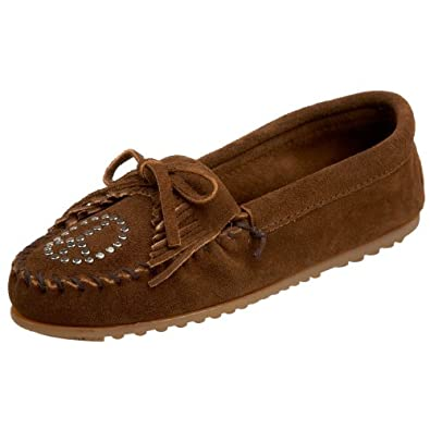 Minnetonka Women's Kilty Peace Sign Moccasin,Dusty Brown,5 M US