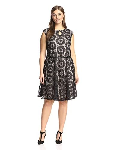 London Times Plus Women's Keyhole Fit-and-Flare Dress