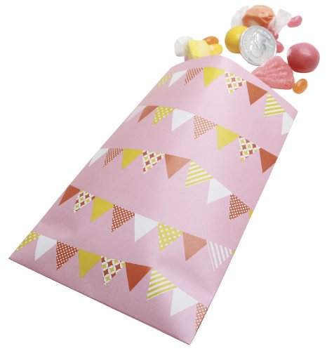 Party Partners Design Retro Sweet Soiree Themed Favor Bags, Pink/Orange, 12 Count