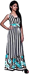 Trendz Today Women's Long Gown (GT04, Black & White, X-Large)
