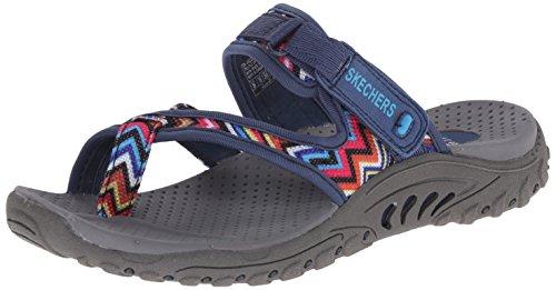 Skechers Women's Reggae Zig Swag Flip Flop, Navy/Multi, 9 M US (Women Outdoor Sandals compare prices)