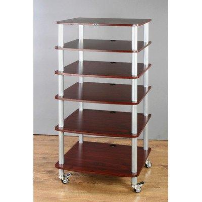 Ar Series 6-Shelf Modular Rack Frame Finish: Silver, Shelf Color: Cherry