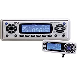 PYLE PLCD16MRWB AM/FM-MPX In-Dash Marine CD/MP3 Player/Weather Band Radio with Full Face Detachable Panel and Wired Remote