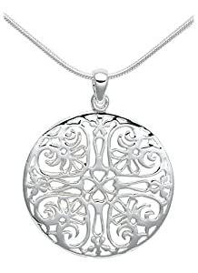 Sterling Silver Filigree Circle Pendant, 18