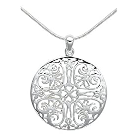 "Sterling Silver Filigree Circle Pendant, 18"" from amazon.com"