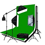ePhoto H9004SB2-69BWG 3pieces 6x9 Chromakey Green Screen Muslins Backdrops Background Support Kit 2400 Watt Lighting Studio with Case-Black White