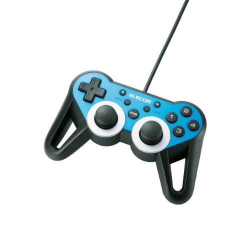 エレコム ゲームパッド USB接続 12ボタンアナログスティック搭載 振動/連射 高耐久 【ファイナルファンタジーXIV: 新生エオルゼア推奨】 ブルー JC-U3312SBU