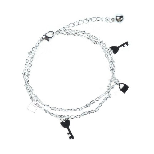 BestDealUSA Fashion 925 Silver Beautiful Bracelets Double Chain Key Style