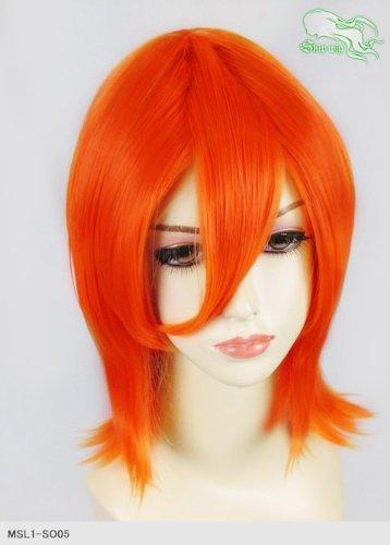 スキップウィッグ 魅せる シャープ 小顔に特化したコスプレアレンジウィッグ シャイニーミディ ネオンオレンジ