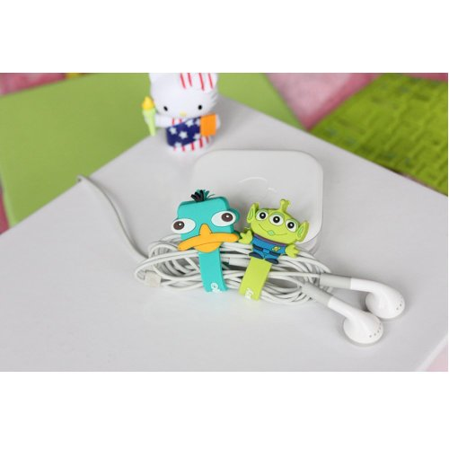 New Cute Monsters University Disney Cartoon Hello Kitty Cable Tie Cord Organizer Headset Headphone Earphone Wrap Winder/ Fixer Holder/Cord Manager/Cable Winder (2 Pcs Cable Winder Duck&Alien)
