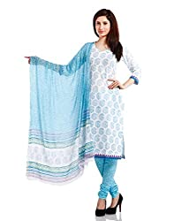 Pinkshink Womens Cotton Unstitched Dress Material (Psk41 _White)