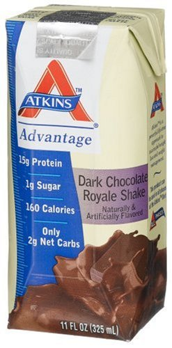 Atkins Ready To Drink Shake, Dark Chocolate Royale, 11-Ounce Aseptic Containers (Pack of  8)
