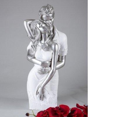 Moderne und exklusive Skulptur PAAR aus Keramik weiß/silber Höhe 42 cm