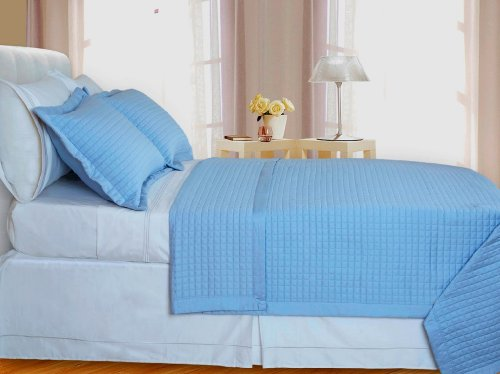 Egyptian Cotton 400 Thread Count Reversible Coverlet Set 3 PC Full/Queen (Blue)