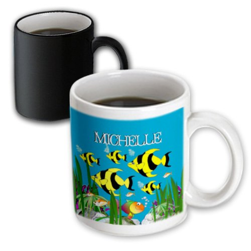Smudgeart Female Child Name Designs - Colourful Tropical Plants And Fish Design Personalized With A Female Name Michelle - 11Oz Magic Transforming Mug (Mug_51283_3)