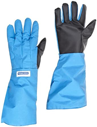 "National Safety Apparel G99CRSGELLGP Nylon Taslan and PTFE Elbow Waterproof Safety Glove with SaferGrip Palm, Cryogenic, 17"" - 18"" Length, Blue"