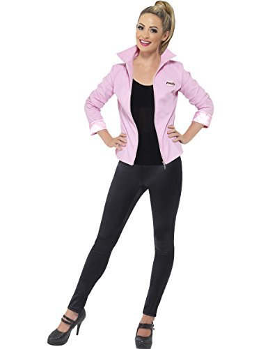 [LADIES GIRLS GREASE DELUXE PINK LADY JACKET 1950s HEN PARTY FANCY DRESS COSTUME#Medium by] (Frenchy Pink Ladies Costume)