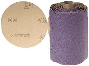 "3M Stikit Paper Disc Roll 735U, PSA Attachment, Ceramic Aluminum Oxide, 5"" Diameter, P100 Grit (Roll of 100)"