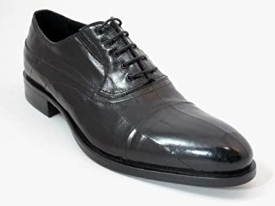 Redwood Men's Dressy Eel Skin Italian Leather Lace up Shoes 8402 Black Size 44